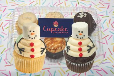Enlarge photo of 2 Snowmen Holiday Cupcake Assorted Gift