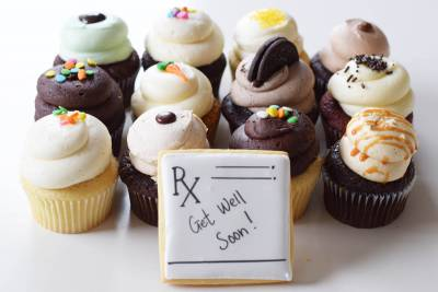Enlarge photo of Get Well Soon Cupcake Assortment with Cookie