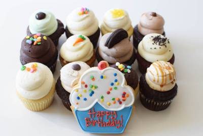 Enlarge photo of Happy Birthday Cupcake Assortment with Cookie